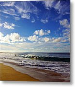 Sandy Beach Morning Rainbow Metal Print