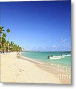 Sandy Beach On Caribbean Resort  Metal Print