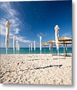 Sandy Beach Umbrellas Metal Print