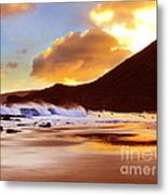 Sandy Beach Sunset Metal Print