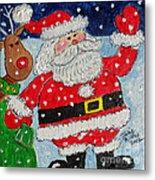 Santa And Rudolph Metal Print