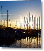Santa Barbara Harbor With Yachts Boats At Sunrise In Silhouette Metal Print