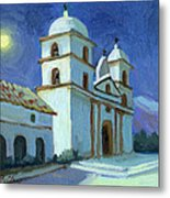 Santa Barbara Mission Moonlight Metal Print