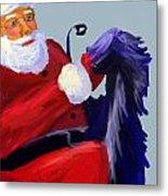 Santa Blue Metal Print