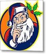 Santa Claus Father Christmas Retro Metal Print