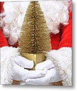 Santa Claus Holding Christmas Tree Metal Print