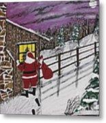 Santa Claus Is Watching Metal Print