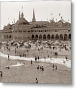 Santa Cruz Beach From Pleasure Pier  California Circa 1908 Metal Print