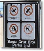 Santa Cruz Beach Sign At The Santa Cruz Beach Boardwalk California 5d23840 Metal Print by Wingsdomain Art and Photography