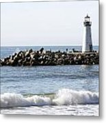 Santa Cruz Lighthouse Wave Wide Metal Print by Barbara Snyder