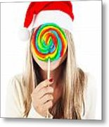 Santa Girl Eating Lollipop Metal Print