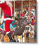 Santa Go Round Metal Print