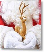 Santa Holding Reindeer Figure Metal Print