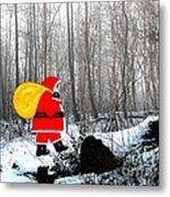 Santa In Christmas Woodlands Metal Print