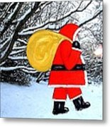 Santa In Winter Wonderland Metal Print