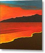 Santa Monica Beach And Mountains Metal Print