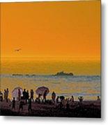 Santa Monica Beach Sunset Metal Print
