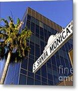 Santa Monica Blvd Sign In Beverly Hills California Metal Print