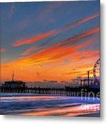 Santa Monica Pier At Dusk Metal Print