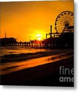 Santa Monica Pier California Sunset Photo Metal Print by Paul Velgos