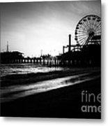 Santa Monica Pier In Black And White Metal Print by Paul Velgos