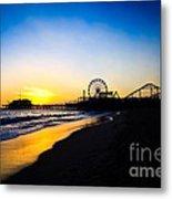 Santa Monica Pier Pacific Ocean Sunset Metal Print by Paul Velgos