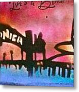 Santa Monica Pier Red Metal Print