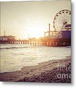 Santa Monica Pier Retro Sunset Picture Metal Print