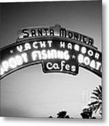 Santa Monica Pier Sign In Black And White Metal Print by Paul Velgos