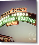 Santa Monica Pier Sign Retro Photo Metal Print