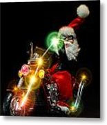 Santa Motoring Metal Print