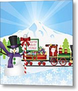 Santa On Train With Snow Scene Metal Print