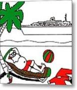 Santa On Vacation Metal Print