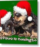 Santa Paws Is Coming To Town Christmas Greeting Metal Print