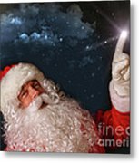 Santa Pointing With Magical Light To The Sky Metal Print by Sandra Cunningham