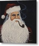Santa With His Pipe Metal Print