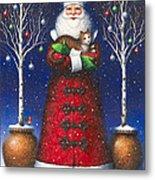 Santa's Cat Metal Print