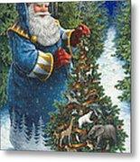 Santa's Christmas Tree Metal Print