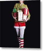 Santa's Helper Merry Christmas Elf Card Metal Print
