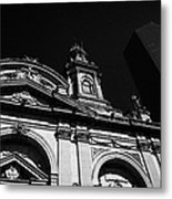 Santiago Metropolitan Cathedral Next To Modern Glass Clad Office Block Chile Metal Print