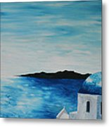 Santorini Blue Dome Metal Print