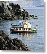 Santorini Boats Metal Print