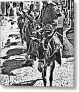 Santorini Donkey Train. Metal Print