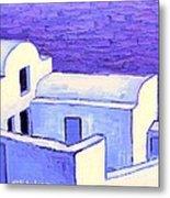 Santorini Houses Metal Print