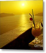 Santorini Sunset Metal Print