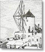 Santorini Windmill Metal Print