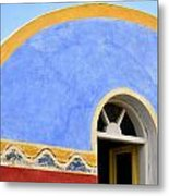 Santorini Window Metal Print