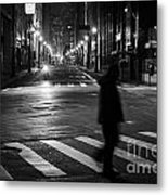 Sao Paulo Street At Night Metal Print