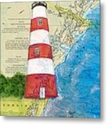 Sapelo Island Lighthouse Ga Nautical Chart Map Art Cathy Peek Metal Print