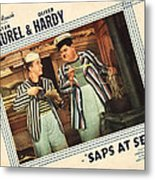 Saps At Sea, Us Lobbycard, From Left Metal Print